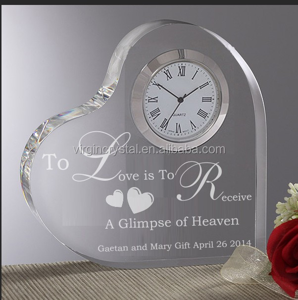 Clear heart shape custom engraved crystal plaques clock crystal table clock
