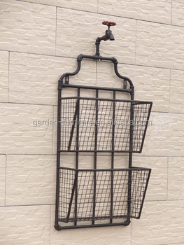 Whole Antique Wall Mounted Metal Newspaper Display Shelf Retro Hanging Magazine Rack
