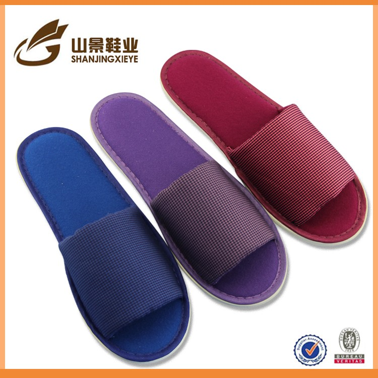recycling with love open toe cheap hotel slippers with printed logo
