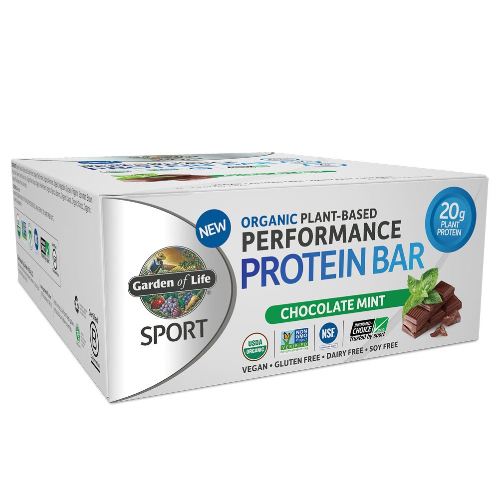 Garden of Life Organic Sport Protein Bar, Vegan, Chocolate Mint, 12 Count