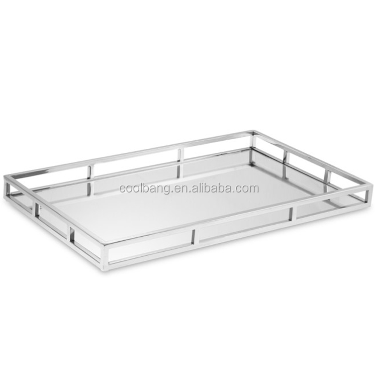 This Felicia Mirrored Tray By Kate And Laurel Brings Modern Glamour To Your Centerpieces Elegant Geometric Design Can Be Placed On A Bar Coffee