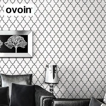 Marocaine Treillis Noir Blanc Motif Geometrique Moderne Rouleau De