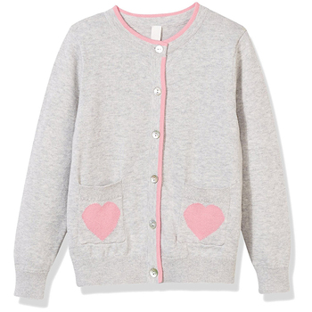 Custom Long Sleeve Cardigan with Love Heart Pocket Cotton primary school uniform designs Kid Knit Baby sweater
