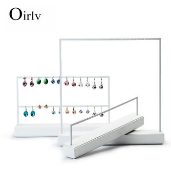 Oirlv Custom Logo New Arrival Drop Earrings Display Holder For Kiosk Whole White Paint Metal