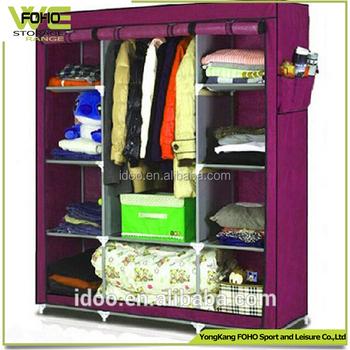 CN Popular Cloth DIY Style Metal Closets Large Increase Folding Fabric  Wardrobe For Organization