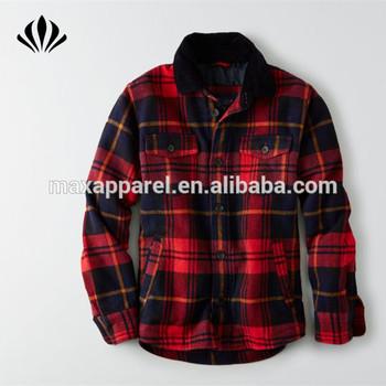 Moda Al Por Mayor Del Oem Botón Frontal Completo Rojo Y Negro Cuadros Abrigo 100% Algodón Chaqueta De Franela A Cuadros Chaquetas Para Los Hombres