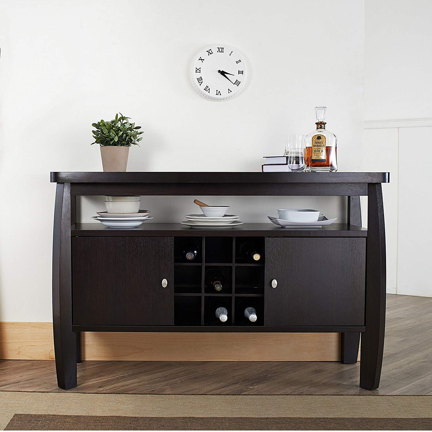 Charmant Contemporary Buffet Table, Wide Open Storage Shelf Underneath The Table  Top, Two Door Storage