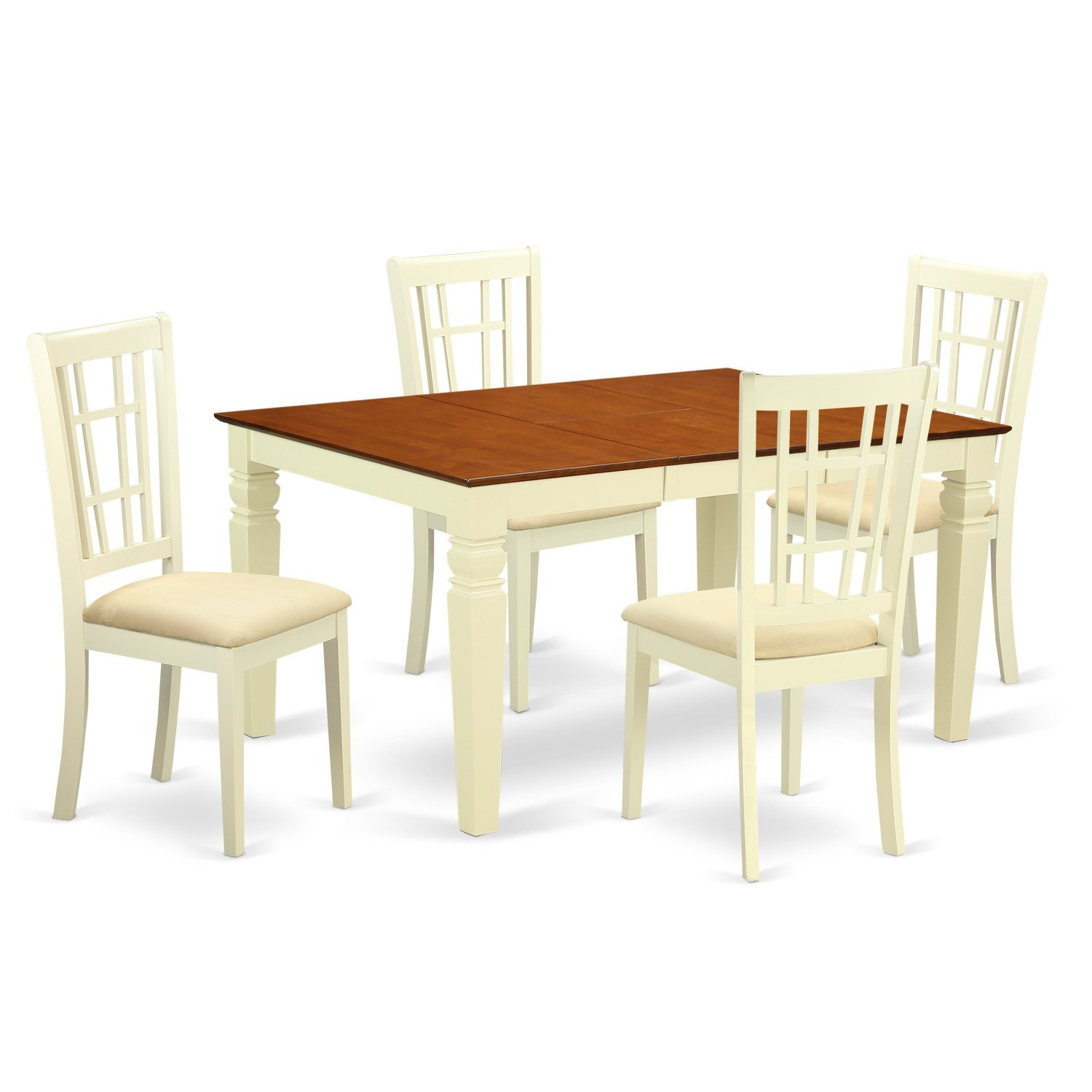East West Furniture Weston WENI5-BMK-C 5 Pc Dinette Set with a Dinning Table and 4 Microfiber Dining Chairs, Buttermilk and Cherry
