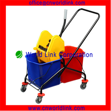 60L Plastic Double Mop Bucket With Wringer