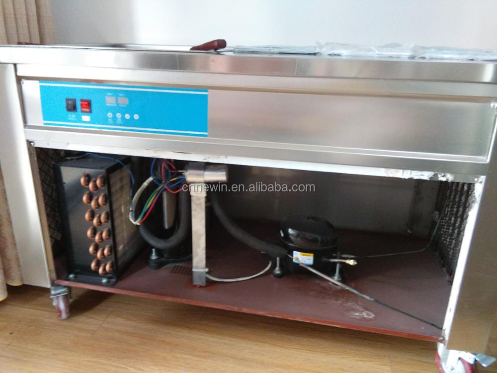 Thailand style manual fried /roll fry ice cream machine with flat table for fried ice cream