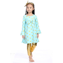 Kids Children Clothing Aqua Gold Polk Dot Top With Gold Pant Outfits, Unique Boutique Clothing Wholesale