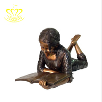 Popular Design Metal Craft New Product Children Reading Book Figure Statue For Outdoor Garden Home Decorate