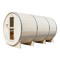 Alphasauna Outdoor Use Sauna Room Wooden Barrel Sauna Cabin With Burning Stove