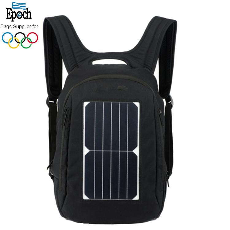 Hommes noir en nylon imperméable rechargeable sac solaire, 14 pouces ordinateur portable sac à dos