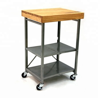 Small Wooden Trolley Stainless Steel Mobile Storage Kitchen Cart