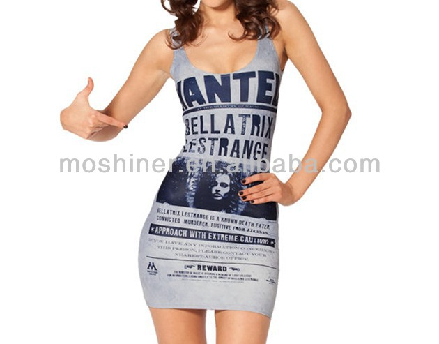 2014 New Tight Sexy Short Dress WANTED BELLATRIX DRESS Digital Printing Mini Skirt Package Hip Cool Summer S119-80