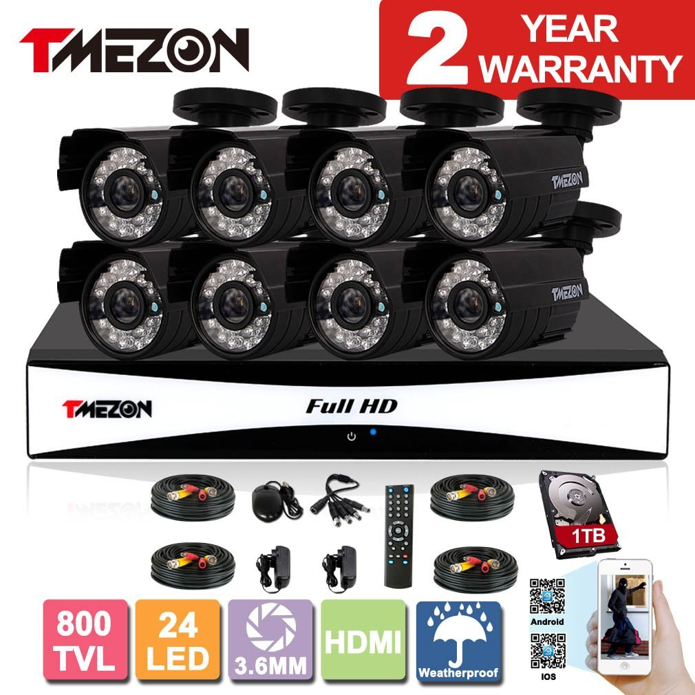 TMEZON 8CH 960H HDMI DVR Kits P2P Recorder 800TVL Cameras Waterproof CCTV Surveillance Security System 3G Remote Mobile Access iPhone Android View 1TB HDD