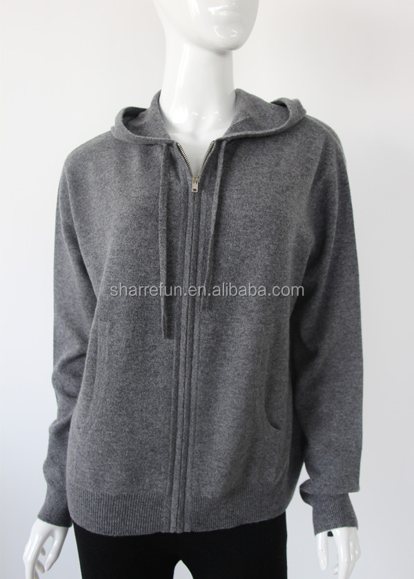 wholesale 12gg flat knitted pure cashmere zip cardigan with 91 colors