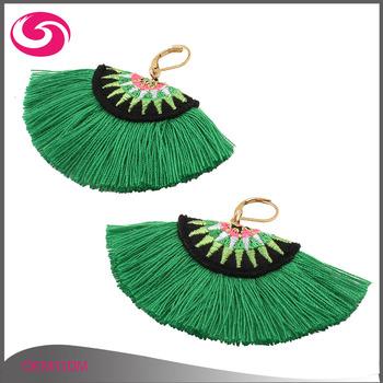Handmade Boho Style Fan Shape Ethic Embroidery Thread Tassel