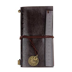Leather Notebook, Keepfit Vintage Leather Blank Retro Journal Writing Diary Leather Bound Note Book daily Notepad for Sketchbook, Travel Diary (Coffee)