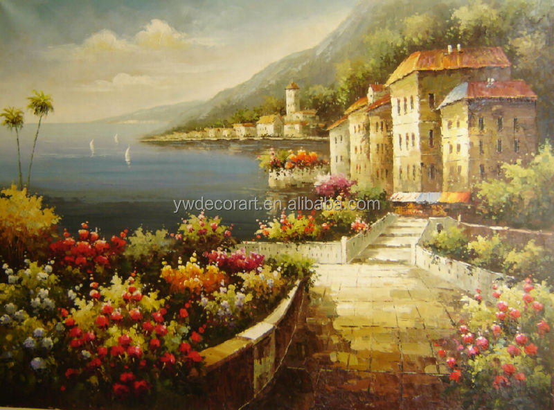 Rolled canvas free shipping Mediterranean Scenery Oil Painting
