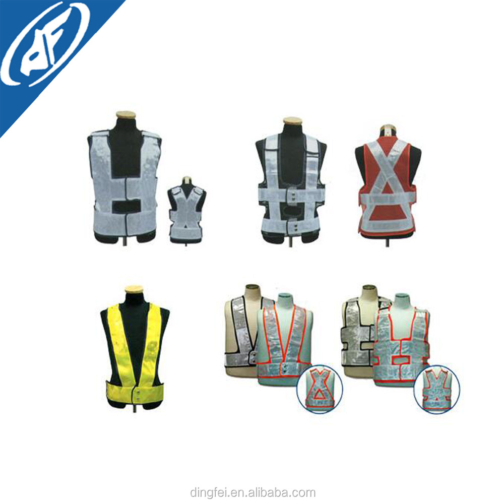 Factory supply cheap reflective self- adhesive X-type safety working vest police vest with led