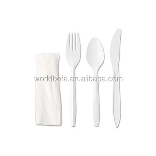 Disposable plastic silverware 6 in 1 Cutlery set with fork spoon knife napkin salt pepper