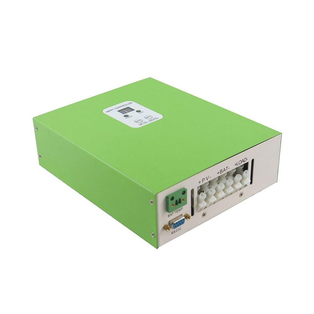 Y-SOLAR 40A MPPT LCD Solar Charge Controller RS232 PC Communication 12V 24V 48V Solar Regulator ESmart 40A with Fan Cooling (40A, Green)