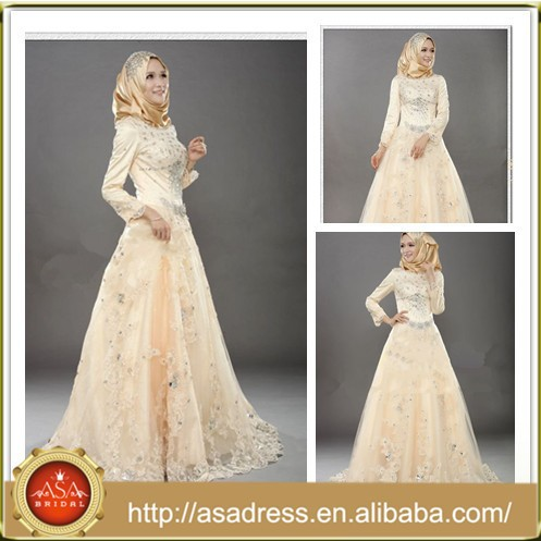 MSL125 Saudi Arabia Long Sleeve A-Line Tulle Beading Hijab Colored muslim wedding dress