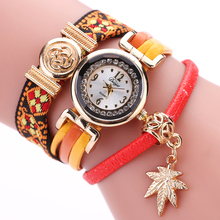 Duoya Brand Leather Strap Watches Women Dress Leaf Pendant Gold Luxury Bracelet Lady Wristwatches Gift Quartz Lady Watch