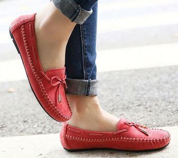 879dc942d247 Women Loafers Lady Ballerina Flat Shoes Woman Summer Flats Comfortable Soft  Genuine Leather shoes