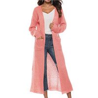 Women Long Open Front Knitted Jacket New Design AutumnTwo Waist Side Pocket Ladies Clothing