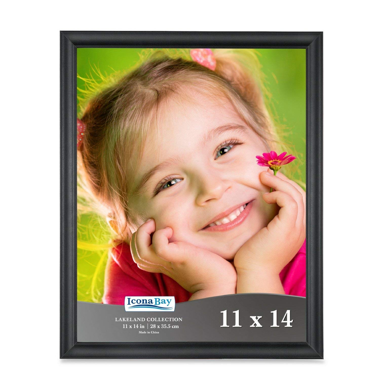Icona Bay 11x14 Picture Frame (1 Pack), Black Frame, Wood Frame, Photo Frames for Wall or Table, Photo Frame 11x14, Black Picture Frames 11 x 14, Black Photo Frames 11x14, Lakeland Collection