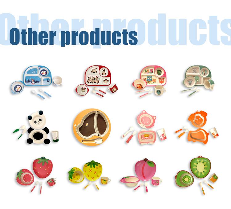 Luxury Hot Sale BPA Free dishwasher safe Biodegradable Bamboo Fiber Baby Dinner Set