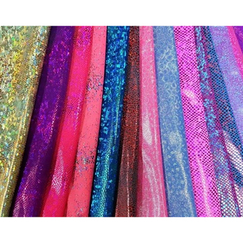 "Best selling nylon lycra hologram printed knit 58/60"" made by 80% nylon 20% polyurethane"