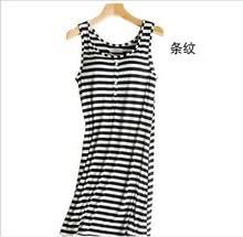 Ночная рубашка женская, летняя, черная/белая, без рукавов, Q301(Китай)