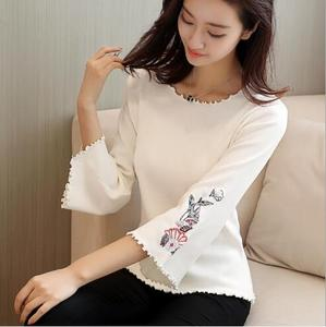 2018 Autumn new Korean version of the embroidery small fresh sweater female  bat sleeves sweater sets 6a021d033