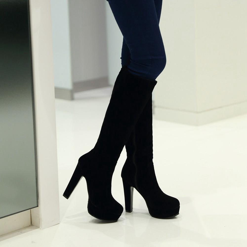 56bb2acc831 Black High Boots For Women | Tsaa Heel