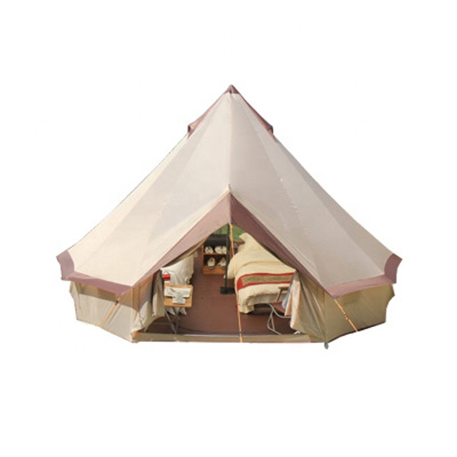 Cotton canvas with durable steel pole teepee modern pagoda luxury yurt bell tent for family hotel camping C01-C051