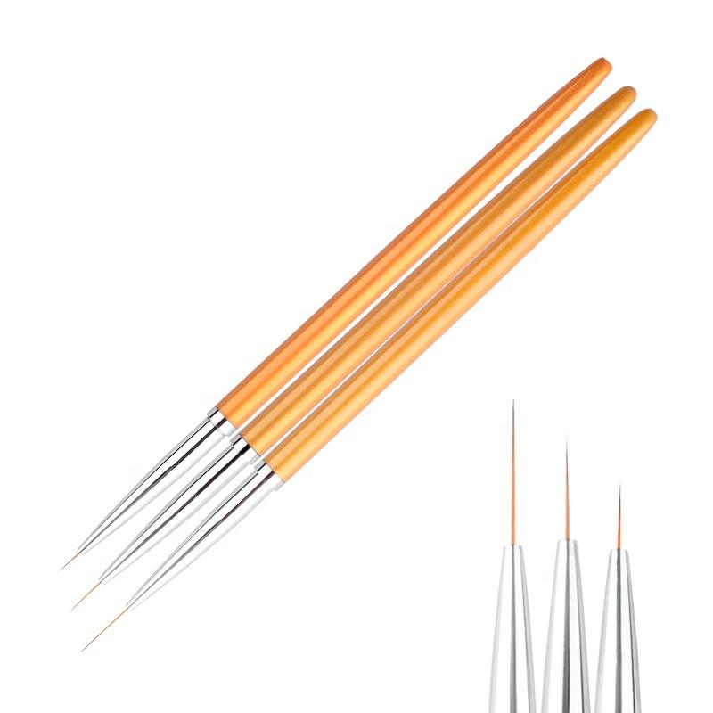 Misscheering 3Pcs Professional Gold Nail Art Lines Painting Pen Brush Set UV Gel Polish Tips 3D Design Manicure Drawing Tool Kit фото