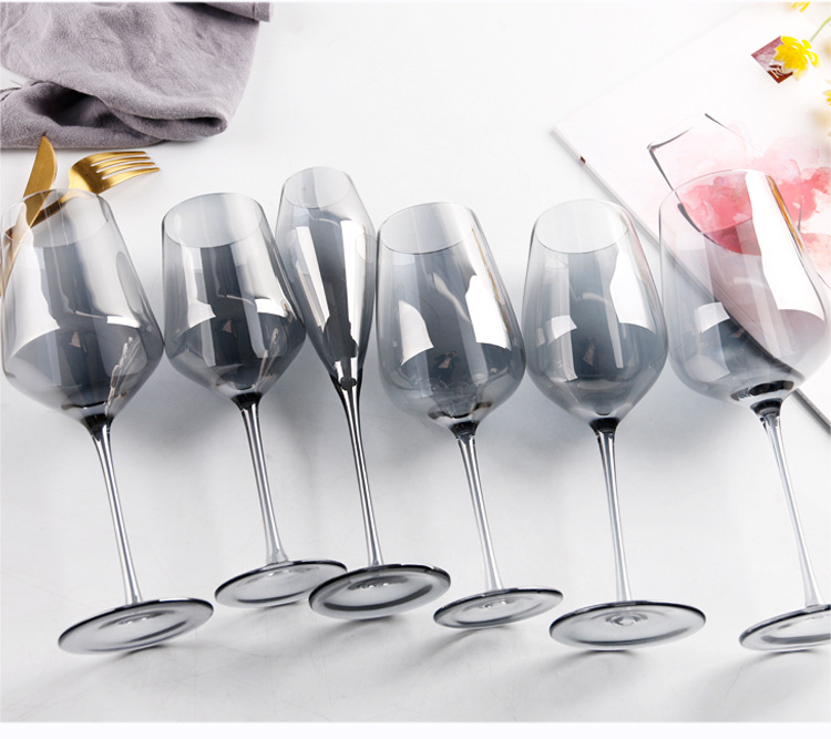 Mouthblown Lead-free Electroplated Smoky Crystal Wine Decanter and Glasses