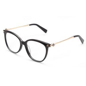 90a80c8a8a Black Acetate Metal Combined Optical Frames 2019 Italian Design Fashion  Women Diamond Decor Round Eyeglasses Frames