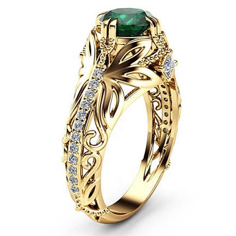 Bán buôn OEM Màu Vàng Sang Trọng Nhẫn Cưới Bướm Đá Quý Nhẫn Đảng Jewelry HS-CS-B2376