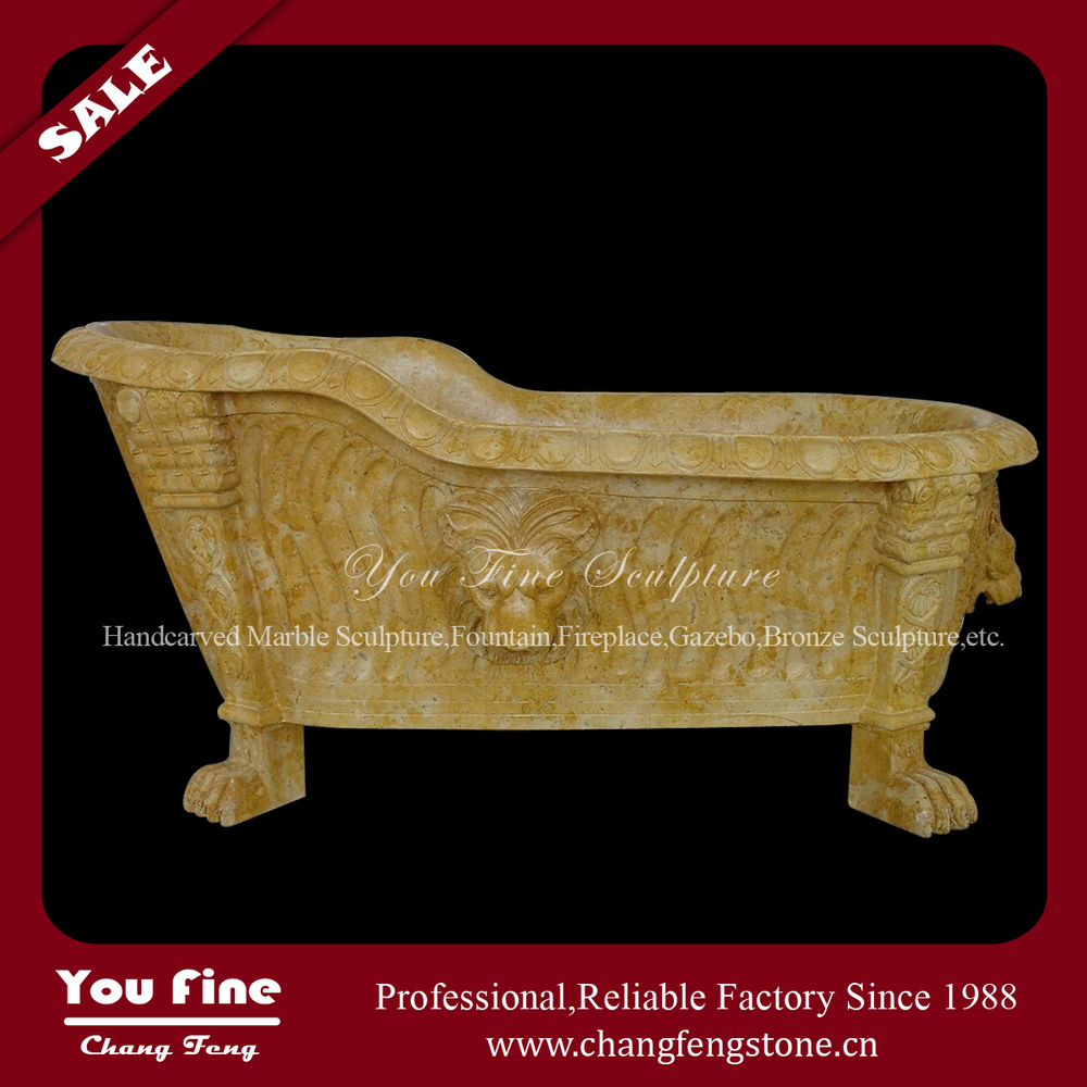 High Quality Home Used Beige Marble Cheap Free Standing Bathtub