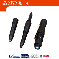 2017 newest 4 in 1 led flashlight tactical pen tungsten Aviation aluminum defense pen have stock OEM gift pen set