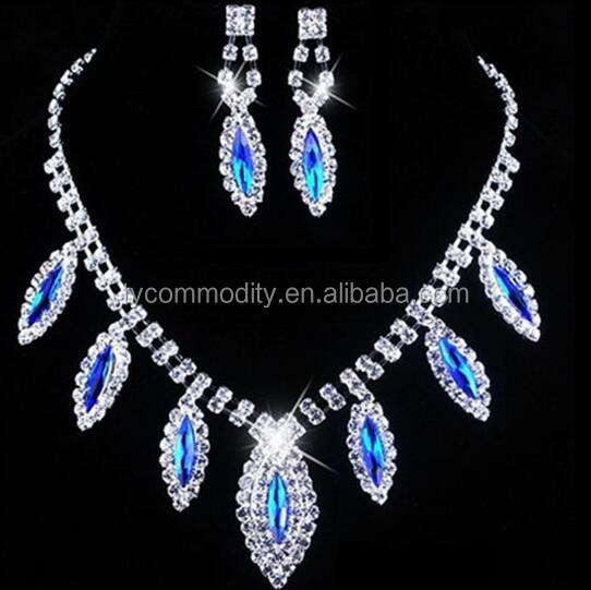 royal blue imitation antique bridal jewellery necklace sets