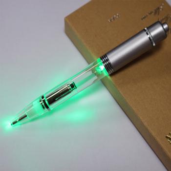 Electronic LED light ballpoint pens multicolored metal glow pens LED light  with ballpoint pen High quality