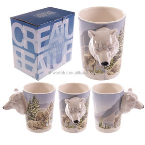 Cute wolf designs 3d ceramic mug