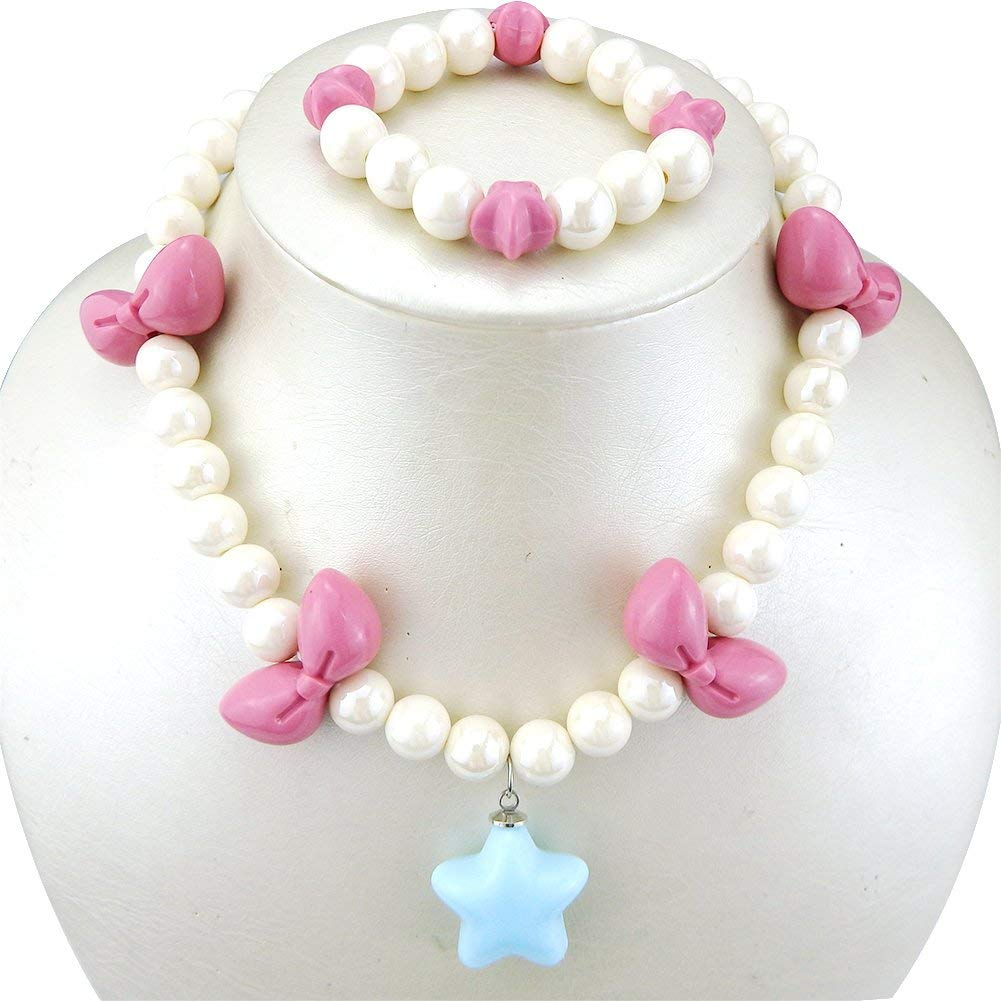87cdd442c Get Quotations · 6 Colors Cute Necklaces Bracelet Jewelry Set for Kids Best  Friend Bow Star Beads Shiny for