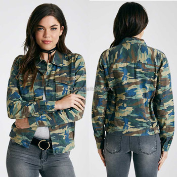 Women Camo Print Military Jacket Lightweight Long Sleeves Buttoned Cotton Camouflage  Jacket In Guangzhou 974da2adf1